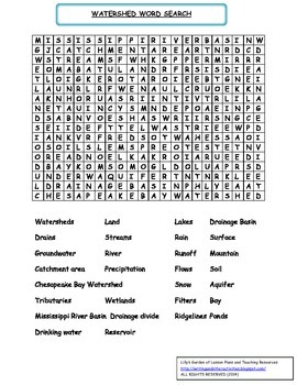Watershed Word Search