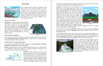 Watersheds Reading Comprehension Article - Grade 8 and Up
