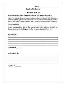 Watership Down - Character Analysis Activity - Richard Adams