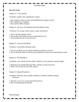 Watership Down Part III - Vocabulary and Study Questions