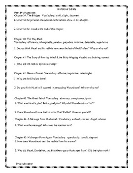 Watership Down Part IV - Vocabulary and Study Questions