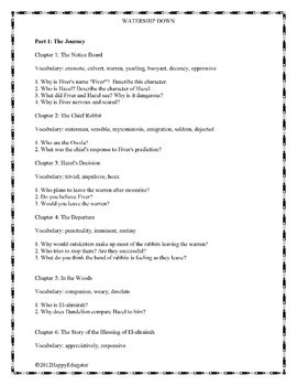 Watership Down Parts I - IV with Author and Character Notes BUNDLE