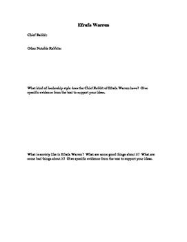 Watership Down Warren Analysis Form: Efrafa