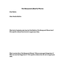 Watership Down Warren Analysis Form: Honeycomb