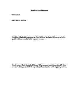 Watership Down Warren Analysis Form: Sandleford
