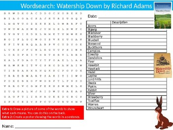 Watership Down Wordsearch Puzzle Sheet Keywords Activity English Literature