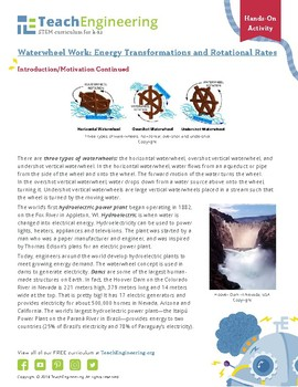 Waterwheel Work: Energy Transformations and Rotational Rates