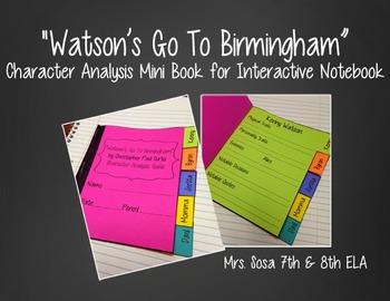 Watson's Go To Birmingham Interactive Notebook - Character Mini Book