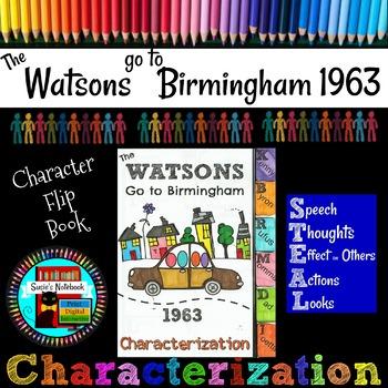 Watsons Go to Birmingham 1963 Character Flip Book with Editable Rubric