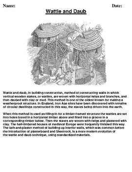 Wattle and Daub Description/Article reading and Homework Assignment