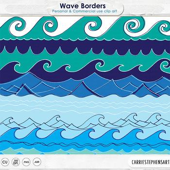 Wave Border Clip Art, Water ClipArt, Line  Art, Summer Beach