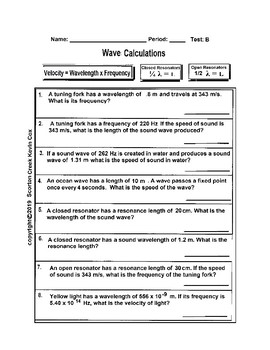 Wave Calculations Worksheet - 2 Tests A and B