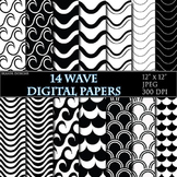 Wave Digital Papers Black and White Papers Scrapbooking Printable