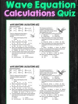 Wave Equation Calculations Quiz