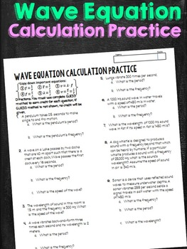 Wave Equation Calculations Practice Problems