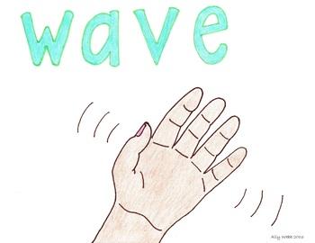 Wave Goodbye Cartoon--Printable Montessori Homonym Cards