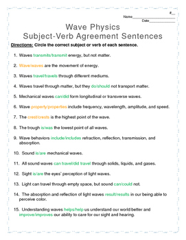 Wave Physics Subject-Verb Agreement Cross-Curricular Worksheet