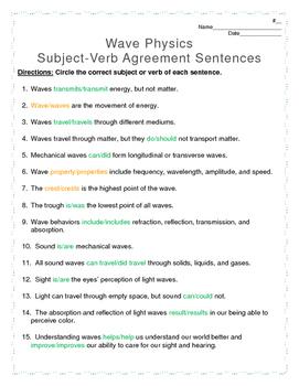 Wave Physics Subject-Verb Agreement Cross-Curricular Worksheet