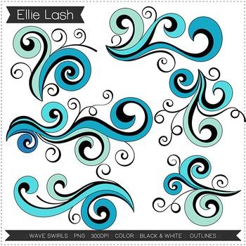 Wave Swirls Clipart By Ellie Lash