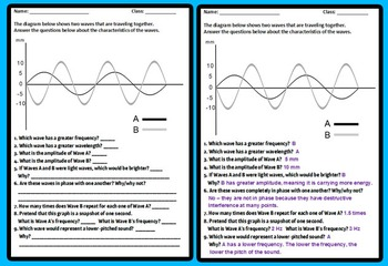 Wave Warmup Quiz with Answer Key -- Quick Assessment
