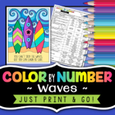 Waves Color By Number - Science Color by Number