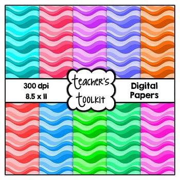 Waves Digital Papers {8.5 x 11} Clip Art CU OK