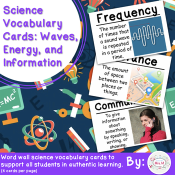 Waves, Energy, and Information Vocabulary Cards