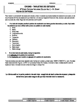 Waves Flashcards Project (DUAL LANGUAGE SPANISH)
