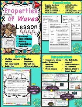 Waves- Physical Science Interactive Notebook Lesson Bundle