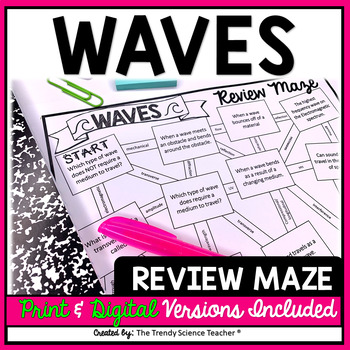 Waves Review Maze Worksheet By The Trendy Science Teacher Tpt