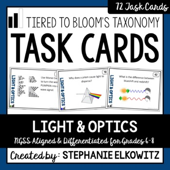 Light and Optics Task Cards (Differentiated and Tiered)