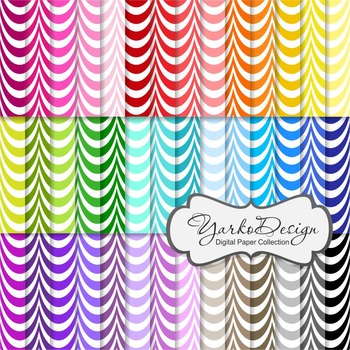 Waves Pattern Digital Scrapbooking Paper Set, 42 Rainbow D