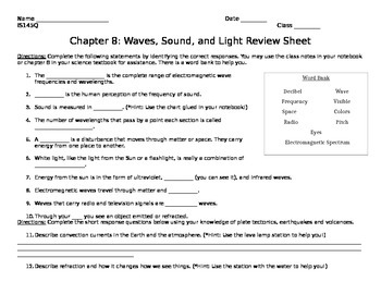 Waves, Sound, and Light Review Sheet