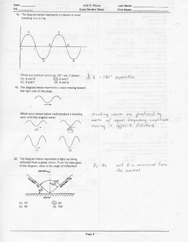 Waves Unit Exam Review Sheet Answer Key