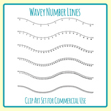 Wavey Numberlines / Number Lines in Waves Clip Art Set for Commercial Use