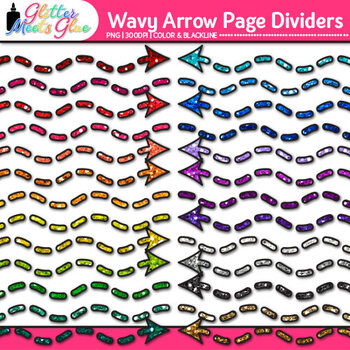 Wavy Arrow Page Dividers Clip Art | Rainbow Glitter Borders for Worksheets
