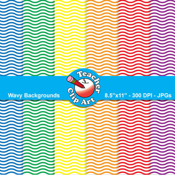 Wavy Backgrounds — Primary Colors (11 Backgrounds)