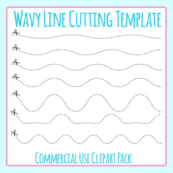 Wavy Line Cutting Template Clip Art Set for Commercial Use