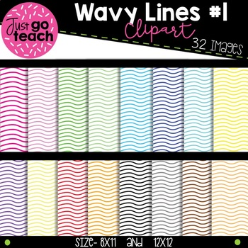 Wavy Lined Digital Paper Collection #1 {Clipart}