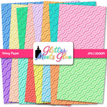 Rainbow Wavy Paper {Scrapbook Backgrounds for Task Cards & Brag Tags}