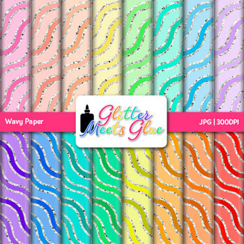 Rainbow Wavy Paper {Scrapbook Backgrounds for Task Cards &