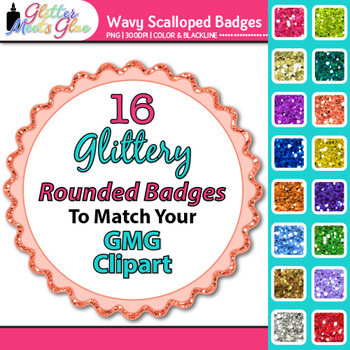 Wavy Frame Clip Art {Rainbow Glitter Labels for Spring Act