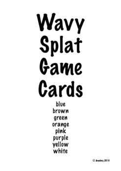 Wavy Splat Game Cards 2/page Assorted Colors