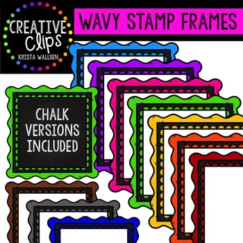 Wavy Stamp Frames {Creative Clips Digital Clipart}