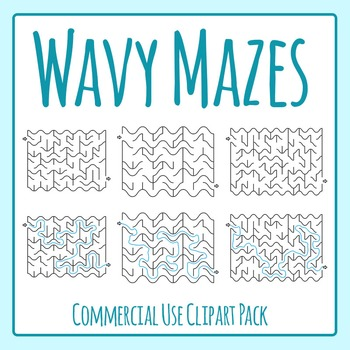 Wavy Wiggly Mazes with Solutions Clip Art Set for Commercial Use