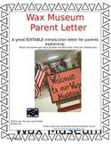 Wax Museum Parent Letter