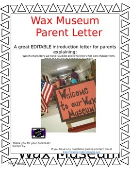 Wax Museum Parent Letter