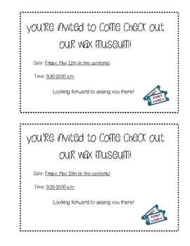 Wax Museum Parent Reminder Note