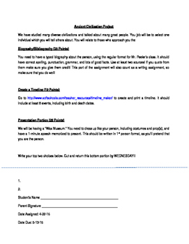 Wax Museum Project and Rubric