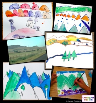 Art Lesson - Wax Resist Landscape - Geography Integrated